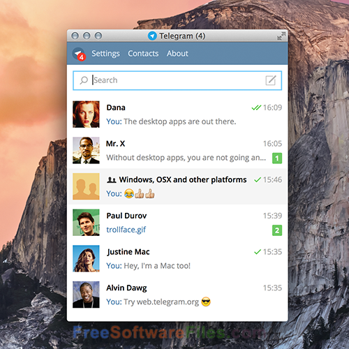 Telegram Desktop 1.1.9 Free Download for PC
