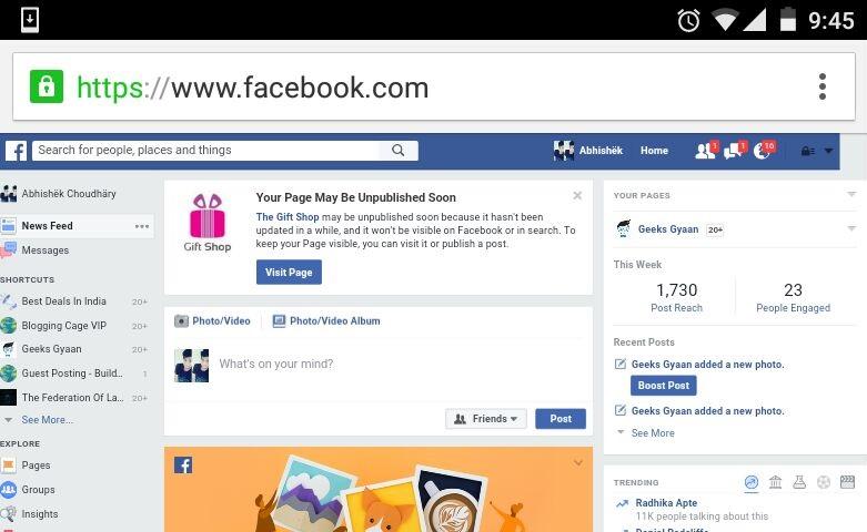 facebook computer version