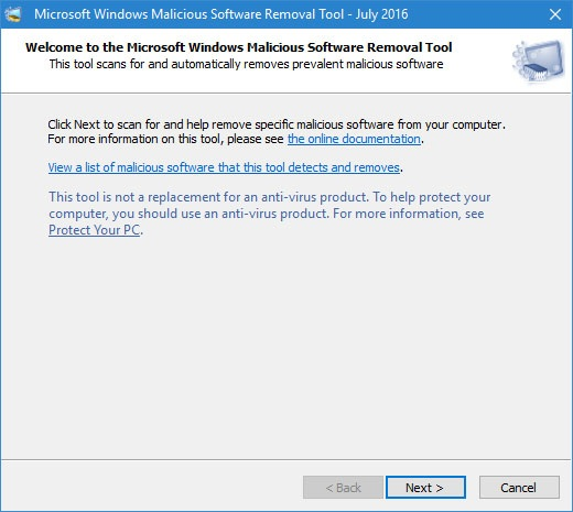 how to use windows malicious software removal tool