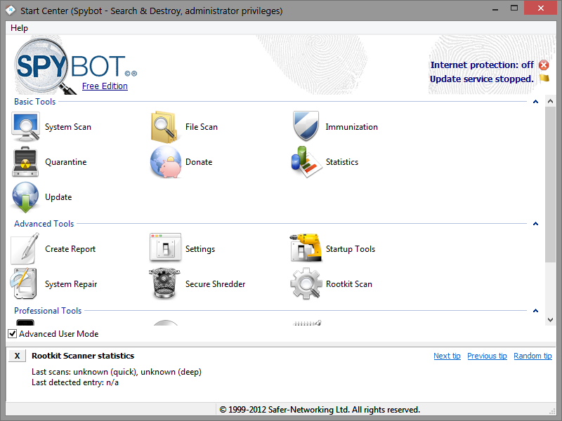 spybot search and destroy windows 7