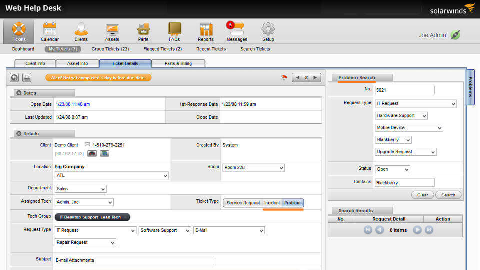 Solar Winds Web Help Desk free Download for Windows