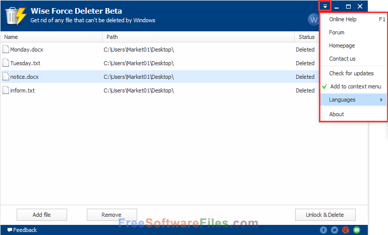 Free Wise Force Deleter 1.46 latest version for pc