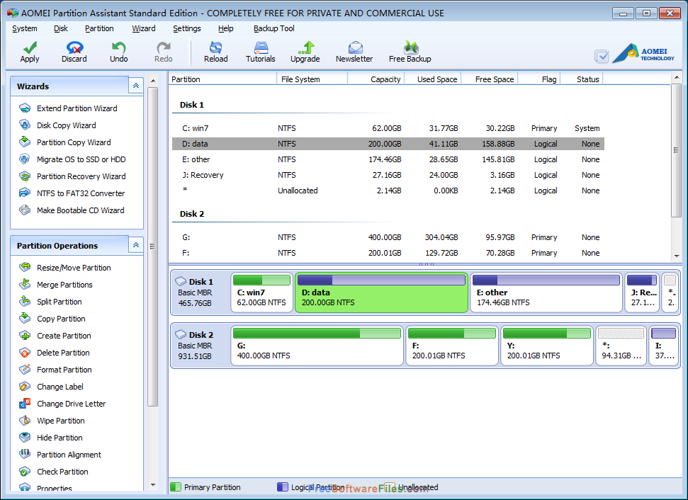 AOMEI Partition Assistant Standard 6.5 Free Download latest version
