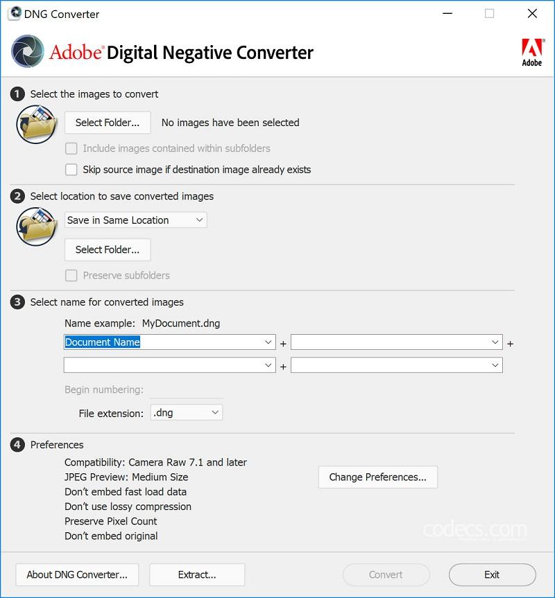 Adobe DNG Converter 11.0 for windows 10